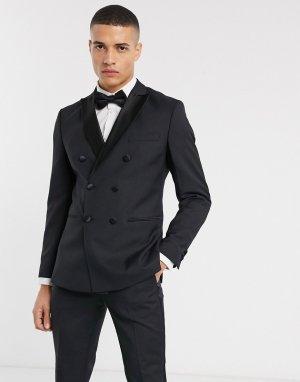 Черный двубортный пиджак-смокинг Premium Jack & Jones