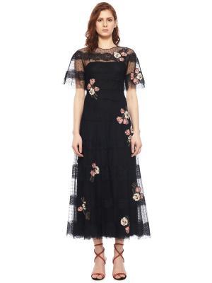Платье с флористическим декором RED VALENTINO. Цвет: черный