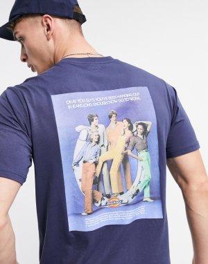Темно-синяя футболка с принтом на спине Bigfork-Темно-синий Dickies