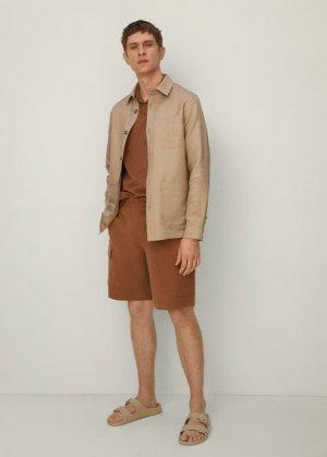 Верхняя рубашка из льняной саржи - Martino Mango. Цвет: бежевый