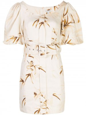 Платье с цветочным узором и поясом Shona Joy. Цвет: белый