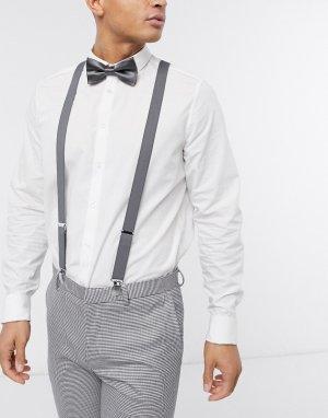 Серые подтяжки и галстук-бабочка -Серый ASOS DESIGN