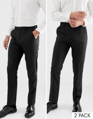 2 пары темно-серых брюк слим ASOS DESIGN