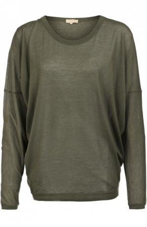 Полупрозрачный кашемировый пуловер свободного кроя с круглым вырезом Back Label. Цвет: хаки