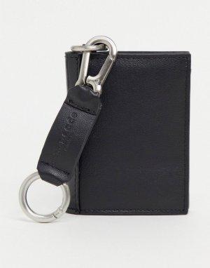 Кожаный бумажник со съемным брелоком для ключей -Черный цвет Urbancode