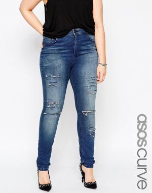 Выбеленные зауженные джинсы с большими прорехами ASOS CURVE Ridley. Цвет: синий