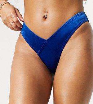 Комбинируемые бархатные плавки бикини синего кобальтового цвета с высоким вырезом бедра -Голубой South Beach