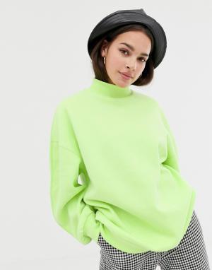 High neck oversized sweater in neon yellow Bershka. Цвет: желтый
