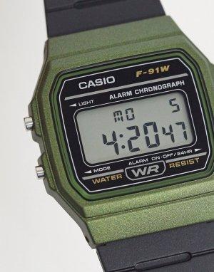 Цифровые силиконовые часы F-91WM-3AEF-Черный Casio
