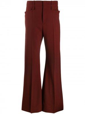 Расклешенные брюки с завышенной талией Chloé. Цвет: красный