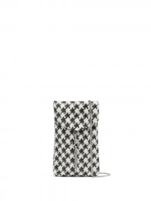 Чехол для телефона в ломаную клетку с кристаллами Jimmy Choo. Цвет: серый