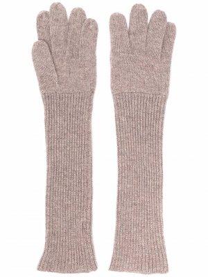 Кашемировые перчатки в рубчик Aspesi. Цвет: нейтральные цвета