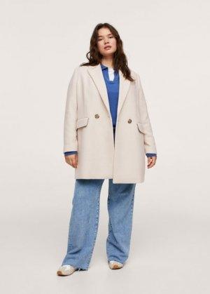 Пальто с лацканами шерсть - Dali Mango. Цвет: пастельный светло-серый