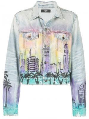 Джинсовая куртка с принтом-граффити Amiri. Цвет: синий