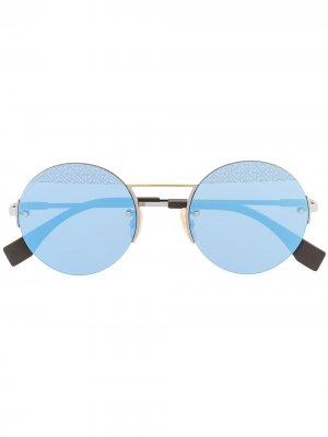 Солнцезащитные очки в круглой оправе Fendi Eyewear. Цвет: серебристый