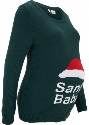 Пуловер для беременных bonprix. Цвет: зеленый
