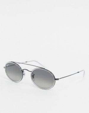 Серебристые овальные солнцезащитные очки с двойной переносицей Ray-ban ORB3847N-Серебряный
