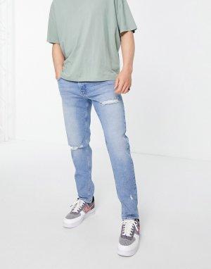 Выбеленные узкие джинсы стрейч со рваной отделкой -Голубой ASOS DESIGN