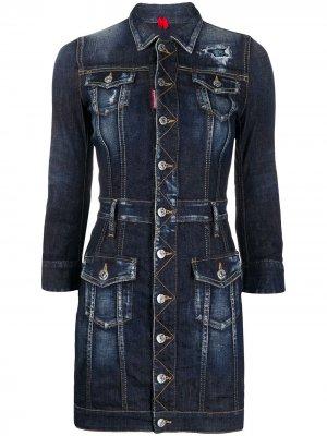 Короткое джинсовое платье Dsquared2. Цвет: синий