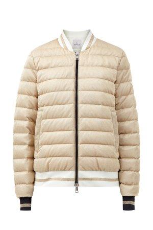 Куртка-бомбер из мерцающего пике с пуховым утеплителем MONCLER. Цвет: бежевый