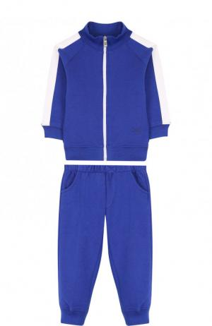 Хлопковый костюм из брюк и кардигана Il Gufo. Цвет: синий