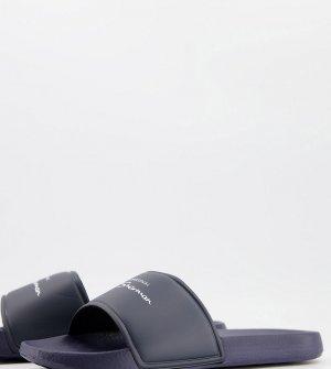 Темно-синие шлепанцы для широкой стопы с логотипом -Темно-синий Ben Sherman