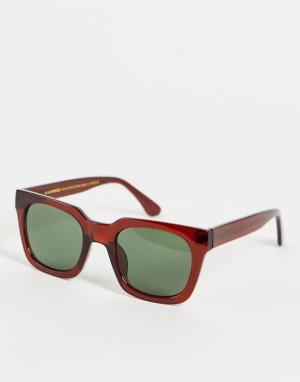 Квадратные солнцезащитные очки унисекс в стиле 70-х темно-коричневой черепаховой оправе Nancy-Коричневый цвет A.Kjaerbede