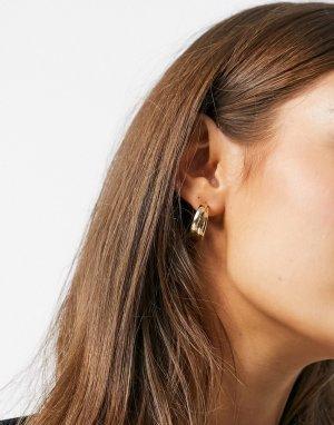 Золотистые серьги-кольца с витым дизайном -Золотистый DesignB London