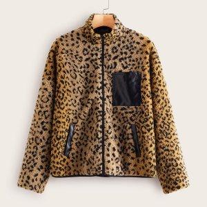 Леопардовое плюшевая куртка с искусственным кожаным карманом SHEIN. Цвет: многоцветный