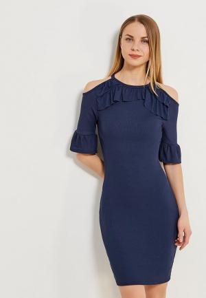 Платье LOST INK PRETTY JERSEY BODYCON MIDI. Цвет: синий