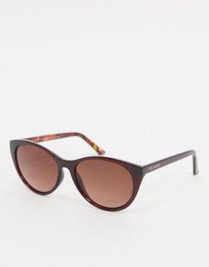 Круглые солнцезащитные очки в бордовой массивной оправе -Красный Ted Baker