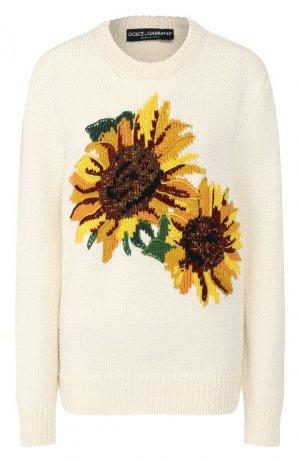 Пуловер из шерсти и кашемира Dolce & Gabbana. Цвет: желтый