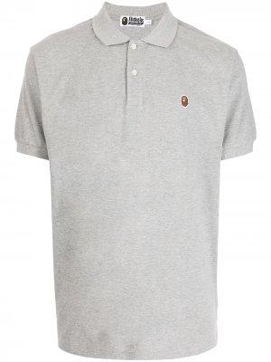 Рубашка поло с короткими рукавами и логотипом A BATHING APE®. Цвет: серый