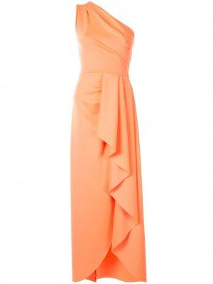 Платье на одно плечо с оборками Black Halo. Цвет: оранжевый