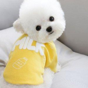 Футболка для домашних животных с текстовым принтом SHEIN. Цвет: жёлтые