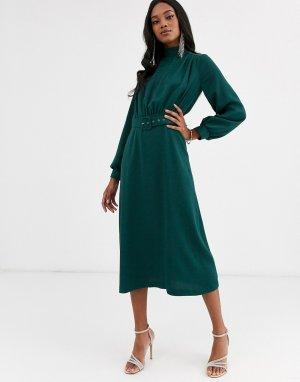 Зеленое платье миди с высоким воротником и поясом Closet London