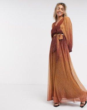 Золотистое платье с эффектом омбре InWear-Коричневый цвет In Wear