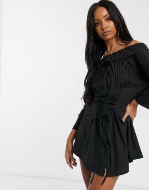 Черное свободное платье-рубашка с корсетной отделкой -Черный Saint Genies