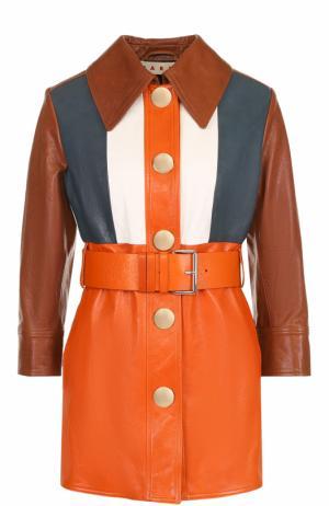 Кожаная куртка с поясом и укороченным рукавом Marni. Цвет: разноцветный