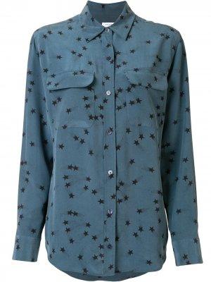 Рубашка с принтом Equipment. Цвет: синий