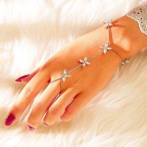 Браслет-Цепочка И Перстень Со Стразами 1шт. SHEIN. Цвет: серебряные