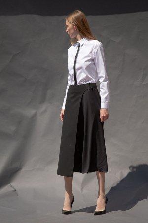 Удлиненная юбка-миди с асимметричной вставкой VASSA&Co. Цвет: черный