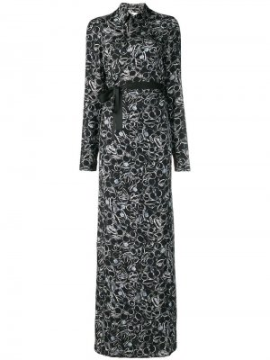 Платье-рубашка длины макси с принтом A.F.Vandevorst. Цвет: черный