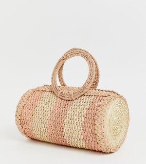 Розовая плетеная сумка из рафии KAANAS-Розовый Kaanas