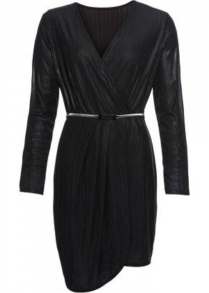 Платье коктейльное с ремнем bonprix. Цвет: черный