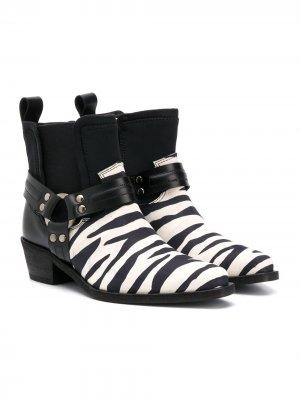 Ботинки с зебровым принтом Cinzia Araia Kids. Цвет: белый