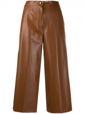 Широкие брюки из искусственной кожи Semicouture. Цвет: коричневый