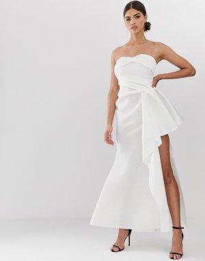 Платье макси с вырезом бандо и разрезом -Белый ASOS DESIGN