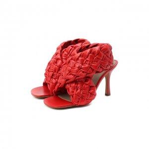 Кожаные босоножки BV Board Bottega Veneta. Цвет: красный