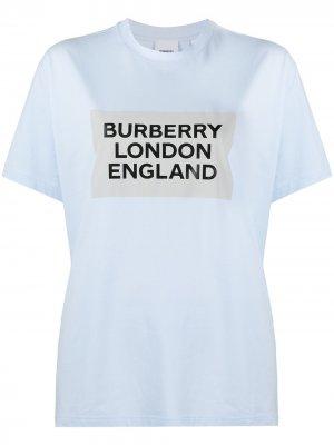 Футболка оверсайз с логотипом Burberry. Цвет: синий